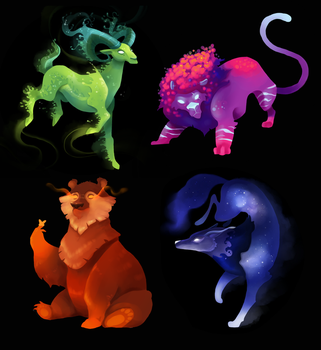 Elemental Animals by ApollinArt