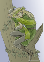 Drunkard on the Tree (Thranduil) by h-muroto