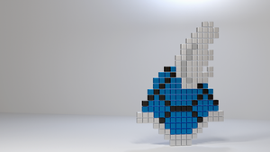 8-Bit Blue Koopa Shell by thekingofthevikings