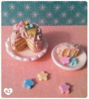 1:12 Miniature Pastel Star Cake by kicat