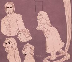 Tangled Pink Sketches by palnk