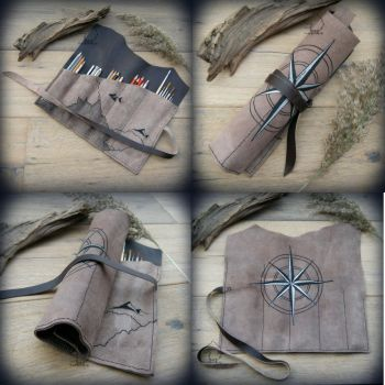 Travel brush and pencil leather wrap by Dark-Lioncourt
