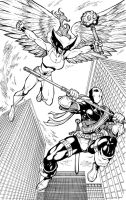 Hawkgirl vs Deathstroke by Dogsupreme