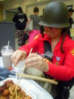 Soldier eats with chopsticks. by TheBuggiest
