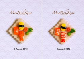 Sushi (Salmon, Prawn and Tamago) Before and After by monpuchikissa