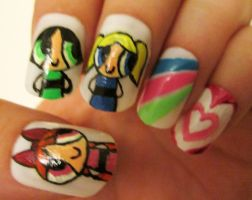 powerpuff girls nails by henzy89