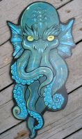 Cthulhu wood painting A by missmonster