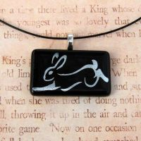 Silver Custom Calligraphy Rabbit Glass by FusedElegance