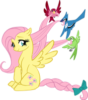 Fluttershy Braids - transparent by gabapple
