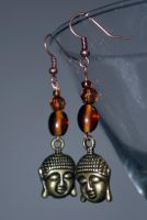 Brown Buddha Earrings by peacenikchik