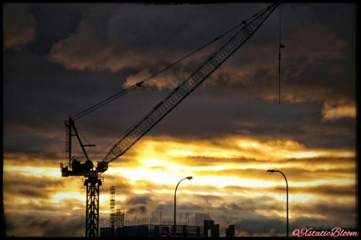 construction crane silhouette  by XstaticBloom