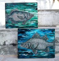 Green and blue embossed fish by shmeeden