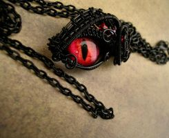 Gothic Black Eye Pendant - Small  Wire Wrapped by LadyPirotessa
