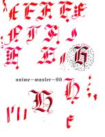 English Calligraphy Practice 2 Gothic Capitals F H by anime-master-96