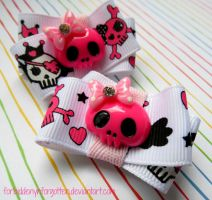 Pink Skull Hair Clips by Forbiddenynforgotten