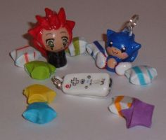 Axel, Sonic, and Wiimote charm by Canovis