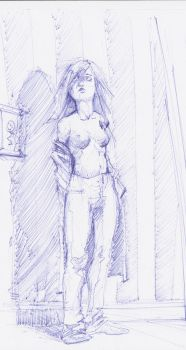 Topless Girl Standing in Room by Heavy-Metal-Noise