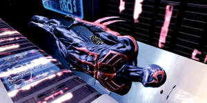 SPIDERMAN2099 DROPS FROM 100FT by jetfire333