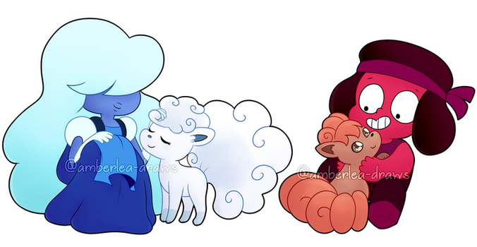 Sapphire Ruby and Vulpix by Amberlea-draws