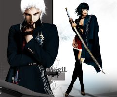 Christmas LV - DMC3 Lady and Vergil by Kunoichi1111