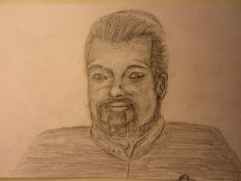 Notecard Drawing-Commender Riker by Xedotic