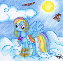 Rainbow Dash ~ Above The Clouds ~ by Lunell