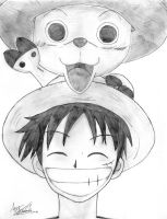 Luffy and Chopper - One Piece. by Tsumikaze