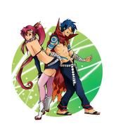 Yoko and Kamina 2 by Krispys