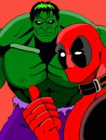 Deadpool vs Hulk color by dmtr1981