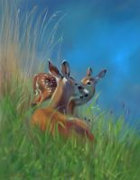 Deer and fawn speed painting PS by nosoart