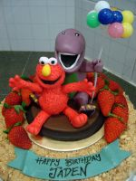Elmo And Barney by Sliceofcake