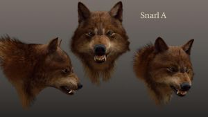 wolf expressions- snarl A by makina91
