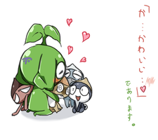 Makemake with Keroro platoon by pianno-ribbon