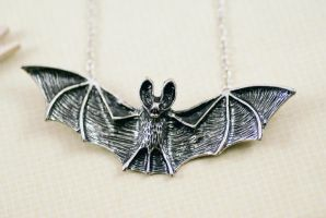 Silver tone Bat Necklace by MonsterBrandCrafts