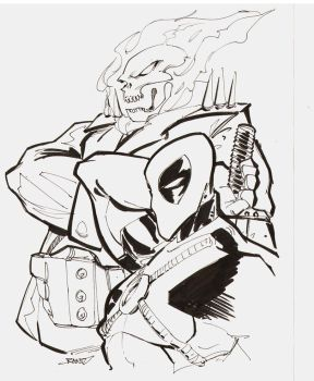 ghost rider and deadpool inks by rantz
