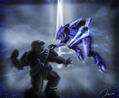 HALO Brute Vs Elite by kaithel