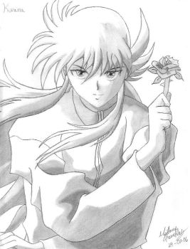 Kurama with a rose by KiraLacus
