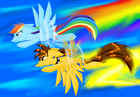 Lightning Wing and Rainbow Dash by SighriaDragoness12