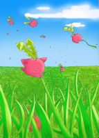 Hoppip flying away in the wind by Syrabi