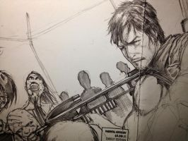 A Punisher: Walking Dead sketch WIP by Ace-Continuado