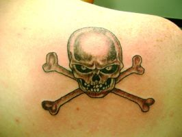 scull and cross bones tattoo by Toast79