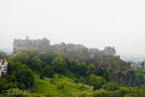 Edinburgh Castle on a foggy day by fireoyster