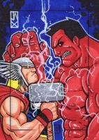 thor vs red hulk by johnjackman