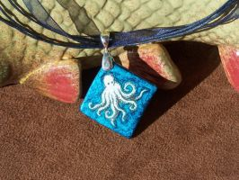 Blue Octopus Necklace by tobilou