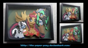 Commission: Gryphyn Family Shadowbox 15x19 by The-Paper-Pony
