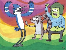 MORDECAI, RIGBY AND MUSCLE MAN. by TallToonist