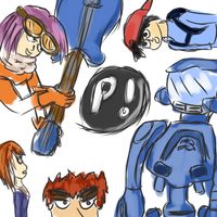 FLCL clusterfuck doodle by PsychoticFlare