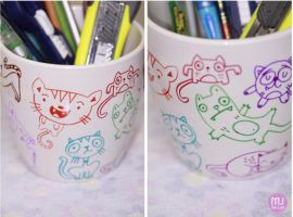 Colorful Cats pencil holder by mjdaluz
