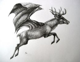 flying deer by wildelbenreiter