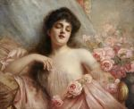 Belle Epoque beauty reclining on a settee by KanchanCollage